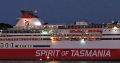 Spirit of Tasmania vehicle and passenger ferry arriving in Devonport from Melbourne in the evening.
