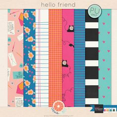 Free Hello Friend Papers from Citrus & Mint {on Facebook}