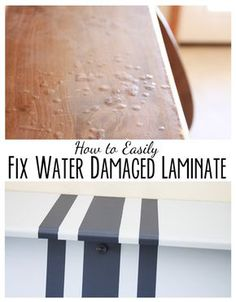 mimiberry creations: How to Paint Perfect Lines AND Fix Water Damaged Laminate LOVE Furniture
