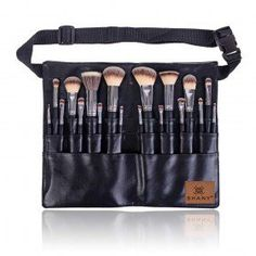 Triple Black Pro 18 PC Brush Set - Synthetic & Natural Hair with Apron