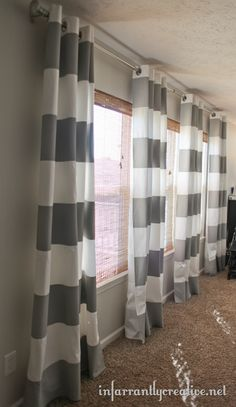 These DIY Striped Curtains are so AMAZEBALLS!  I am dying over them.  So awesome! @Beckie Farrant {infarrantly creative}