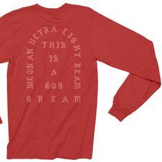 Kanye West Long Sleeve Shirt Ultralight Beam Yeezy Season MSG T-Shirt ($16) ❤ liked on Polyvore featuring tops, t-shirts, long-sleeve shirt, red collar shirt, collared shirt, long sleeve tees and red t shirt