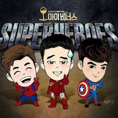 Superhero squad goals: So Ji Sub x Sung Hoon x Henry Lau. We're ready to be saved any time. 'Oh My Venus' Fan Art: Korean Drama Funny, Fated To Love You, Henry Lau, My Love From Another Star, Oh My Venus, Fanart, Weightlifting Fairy, So Ji Sub, Sung Hoon