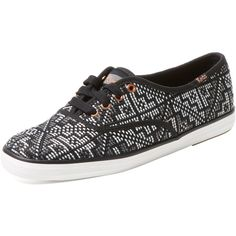 Keds Women's Champion Needlepoint Low Top Sneaker - Black - Size 6 ($35) ❤ liked on Polyvore featuring shoes, sneakers, black, keds shoes, lace up sneakers, kohl shoes, laced sneakers and low profile sneakers