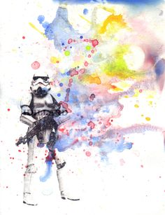 Storm Trooper Star Wars Art Watercolor Painting - Star Wars Fine Art poster print 8 X 10