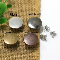 Click Our Letters Rivets Gallery to See More Style and Color . Shank Button, Make Color, Shake, Giant Tree, Bronze, Stud Earrings, Buttons, Jeans, Silver