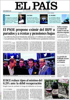 Los Titulares y Portadas de Noticias Destacadas Españolas del 8 de Noviembre de 2013 del Diario El País ¿Que le pareció esta Portada de este Diario Español?