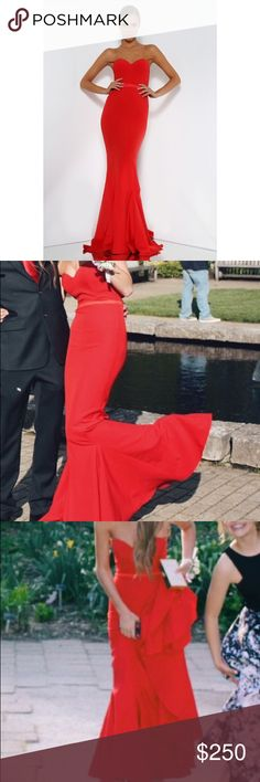Elle zeitoune Arianna gown in red Elle Zeitoune elegant gown-worn once! color is red, size 2- worn once great condition! bought from revolve. not sherri hill- branded that for exposure. Sherri Hill Dresses Prom