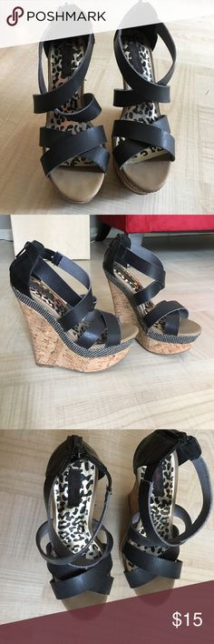 Sky High Black Wedges These stylish wedges are super cute and have only been worn once. They have super cute detail on the heel. In great shape! Dollhouse Shoes Wedges