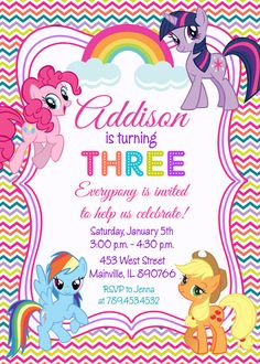 My Little Pony Birthday Party Invitation  por PrettyPaperPixels