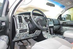 Interior of a Toyota Tundra hydrodipped in camo & skulls.  www.chromefishcustoms.com  www.facebook.com/chromefishcustoms