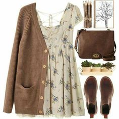 Brown outfit, brown cardigan outfit, dress with cardigan, rustic outfits,. Mode Outfits, Fall Outfits, Casual Outfits, Fashion Outfits, Dress Casual, School Outfits, Fashion Ideas, Converse Outfits, Hipster Outfits