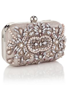 Kate Hardcase Encrusted Clutch | Silver | Accessorize