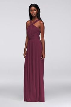 Ruched, pleated, and flowing, this long mesh bridesmaid dress has a Grecian goddess feel.   Polyester  Back zipper; fully lined  Dry clean  Imported  Also available in extra length