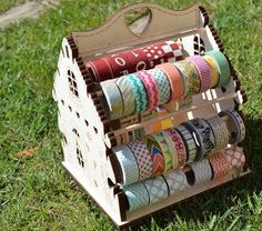 A little wooden house for storing washi tape. Ribbon Organization, Ribbon Storage, Craft Organization, Washi Tape Storage, Ribbon Holders, Small Craft Rooms, Alcohol Ink Crafts, Decorative Tape, Craft Room Storage