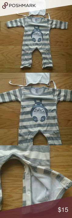 NWT Gray Stripes Body Suit Adorable gray and white stripes body suit.  Warm, soft fleece fiber inside.  Includes matching white beanie.  This item is brand new and never used.?? with tags. ?? ?? ?? ?? ?? Leighton Alexander  One Pieces Bodysuits