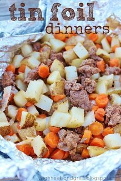 Tin Foil Dinners - my inlaws taught me how to make these and they are so easy and good! You can put whatever you want in them but we usually do: ground beef, carrots, potatoes, tomatoes, onions, and peppers. Then add garlic salt and lawrys seasoning salt and a few pads of butter to keep it from getting too dry. This recipe says to put them on a campfire but this works great on a gas grill too.