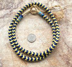 "Blue & Yeliow Interlocking Vintage Bohemian Beads,Old African Trade Beads,31 ""(80 cm) Full Strand Vintage Beads,Old African Trade Beads by RedEarthBeads on Etsy"