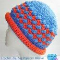 Crochet ZigZag Popcorn Weave Hat with Rolled Brim by Crochet For You via Saturday Link Party - 6 - Rebeckah's Treasures
