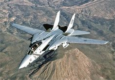 F-14 - Its tell-tale folding wings could sweep back and forth between 68 degrees and 20 depending on required air speed.