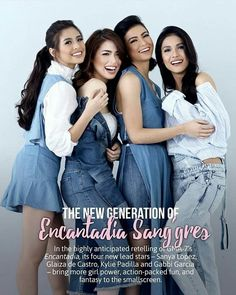 The Sang'gres of 'Encantadia' on the cover of an online showbiz magazine Kylie Padilla, Gabbi Garcia, Gma Network, Sanya, Charlotte Casiraghi, Fantasy Girl, Girl Crushes, Girl Power, Facial