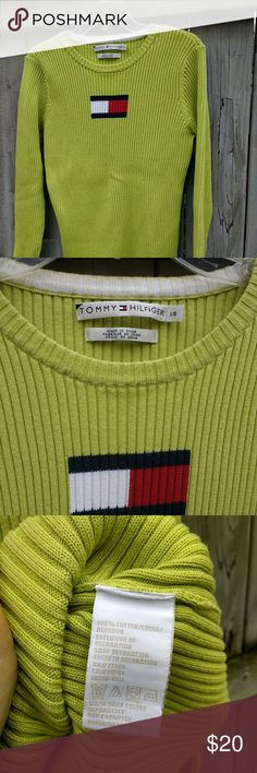 Tommy Hilfiger Ribbed Knit Logo Sweater This lime green 100% cotton Tommy logo sweater is perfect for spring! A lightweight knit, it's in great condition and ready to wear as is or to crop. It's a unique piece that you will want in your closet! Tommy Hilfiger Sweaters Crew & Scoop Necks