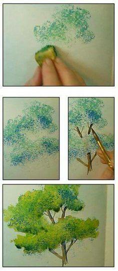 Het is erg leuk om met sponsjes te werken, vooral het 'verrassende' aspect. Toe te passen met zowel aquarel, acryl, olie verf of inkt. Gebruik niet te veel van je medium om een open / luchtig effect te krijgen. De stam / takken van een boom zijn maar hier en daar zichtbaar. Deze fijn inschilderen.