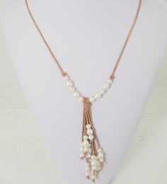 Pearl and leather necklace new style! Favorite necklace style yet!