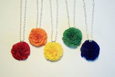 Single Fabric Pom Necklace in Bold Solids Pick by BettyBowBlue, $21.00