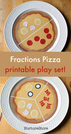 Free pizza fractions printable, pizza parlour printable set for dramatic play, fun fractions, fraction activity, math role play ideas, printable pizzas