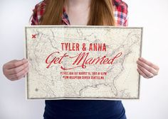Map Poster Wedding Invitation from 'Ello There' on Etsy.  Love.