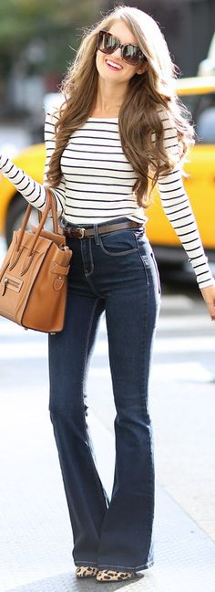 off shoulder striped top // flared jeans // leopard heels // Celine handbag
