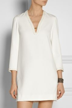 Maje | Ewen contrast-trimmed cady mini dress | NET-A-PORTER.COM