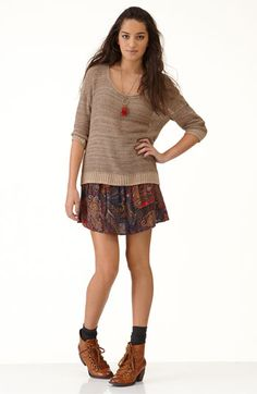 Love this outfit!  Skirt is $28.00 at Nordstrom. Wish I could figure out how to pull off the shoes and socks deal.