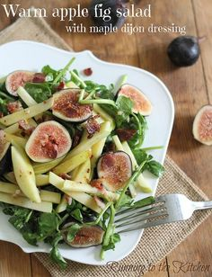 This warm apple and fig salad is tossed with a maple dijon dressing and topped with crumbled bacon.