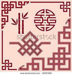 Set of Oriental Design Elements (border, corner, knot, bamboo) - stock vector Chinese Bamboo Tree, Chinese Wall, Border Pattern, Border Design, Pattern Art, Oriental Pattern, Oriental Design, Chinese Ornament, Asian Cards