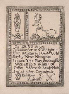 cartão comercial de funerária, England 1680