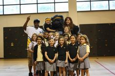 The Grizz visited with some Lower School girls before the big win over the Clippers