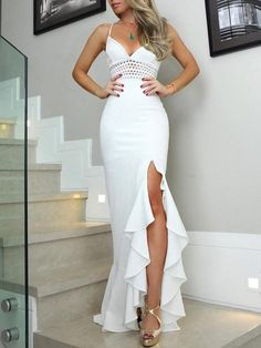 Solid Hollow Out Side Slit Flounced Irregular Dress, Shop plus-sized prom dresses for curvy figures and plus-size party dresses. Ball gowns for prom in plus sizes and short plus-sized prom dresses for Prom Dress Shopping, Online Dress Shopping, Long Prom Gowns, Homecoming Dresses, Ball Dresses, Ball Gowns, Evening Dresses, Summer Dresses, Prom Looks