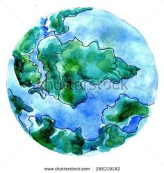 Stylized watercolor painting of the Earth planet, hand drawn illustration.