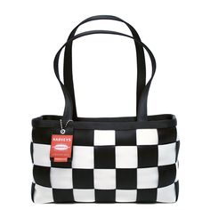 Harveys Seatbelt bag Large Satchel Checkered Black and White Handbag