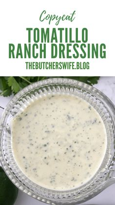Copycat Tomatillo Ranch Dressing is a creamy salad dressing that is made with fresh ingredients with tomatillos, cilantro, lime juice, jalapenos! Salmon Recipes, Fish Recipes, Mexican Food Recipes, Dry Ranch Dressing Mix, Lime Dressing, Creamy Salad Dressing, Cilantro Lime Rice, Food Out, Hot Fudge