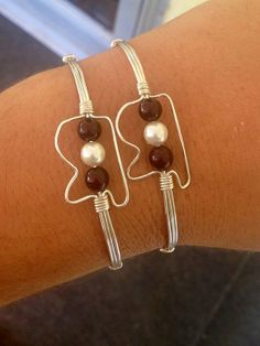 Wire Wrapped MSU Mississippi State Shaped Bracelet Hand Made Mississippi Bracelet on Etsy, $15.75