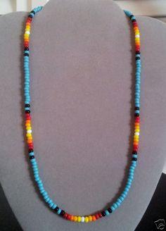 NEW Lg * Turquoise Sunburst Beaded Mens, Womens Necklace-Native American Made Diy Jewelry Necklace, Seed Bead Jewelry, Simple Necklace, Bead Earrings, Beaded Jewelry, Beaded Bracelets, Necklace Ideas, Craft Jewelry, Jewlery