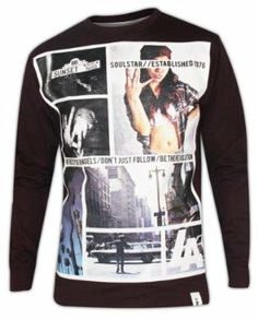 5ce70165869 Men s Soul Star EL AYE Sweat Shirt Crew Neck Long Sleeves Top