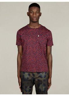 19f17b7c0ef32 Mens Floral Print Cotton T-Shirt Beetroot