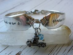 Truck driver spoon handle bracelet - proud to be a truckers wife - semi truck charm - sapphire crystal - silver plated  - you choose color