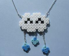 Happy Rain Cloud Necklace Perler Bead by VioletdaleJewellery, $18.00