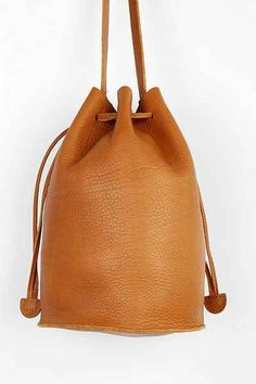 BAGGU Leather Drawstring Bucket Bag - Urban Outfitters