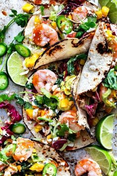 Shrimp Tacos made healthy with a mix of chopped greens instead of the traditional angel hair tacos